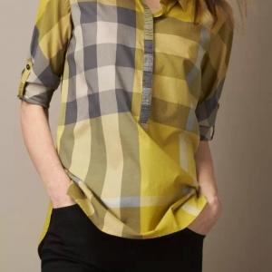 Camisa Xadrez Amarela Fem. Burberry