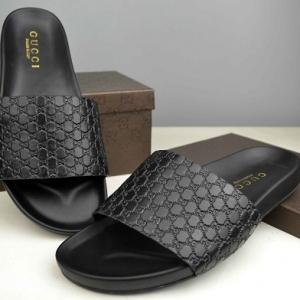 Sandália slide chinelo couro Gucci