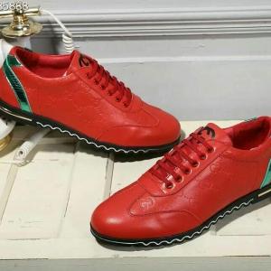 Tênis vermelho couro Gucci